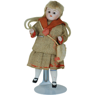 4 inch  original dress German All Bisque doll glass eyes 1 of 4