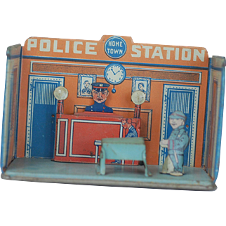 Louis Marx 1930s Tin Home Town Toy Room POLICE STATION with figures
