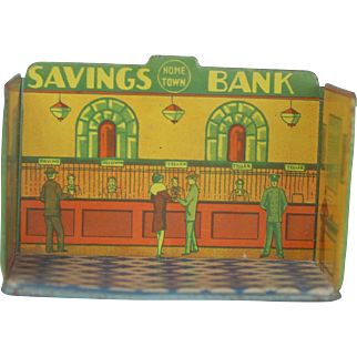 Louis Marx 1930s Tin Home Town Toy Room MEAT MARKET