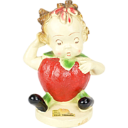 1942 PeeDee Chalkware Fruit Kids Stella Strawberry with Label