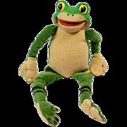 1960s Steiff Velvet Frog with Rubber Face Riveted Button