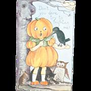 1920s Vintage Halloween Postcard Pumpkin Head Girl Unused