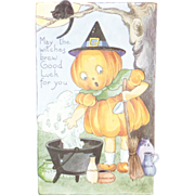 1920s Vintage Halloween Postcard Pumpkin Head Girl Unused