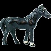 """1930s Small Hubley Cast Iron Black Beauty Horse Door Stop 3"""""""