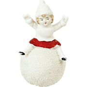 """German Snow Baby Little Girl on Large Snowball 1.85"""""""