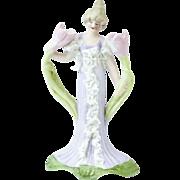 "1900s Tiny German Tulip Fairy Gibson Girl Bisque Figurine 4"""