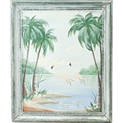 """1950s Vintage Tropical Palm Tree Painting with Pink Flamingos 12"""" x 9"""""""