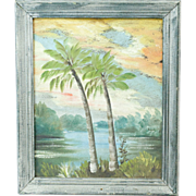 """1950s Vintage Tropical Palm Tree Painting 12"""" x 9"""""""