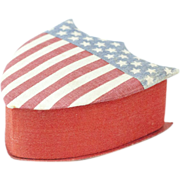 """Early 1900s Silk and Paper American Flag Union Shield Candy Box 4"""""""