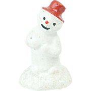 "1920s German Papier Maché Sparkly Snow Man Cake Topper 1 1/2"""