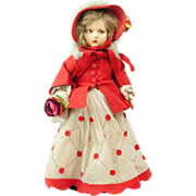 1920s Italian Lenci Girl Doll in Wintry Christmas Red Hooded Outfit 15""