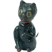 1920s Japanese Papier Maché Black Halloween Cat Bobble Head with Spring Tail 4""