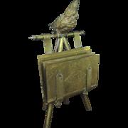 Victorian Figural Carte de Visites Easel, Parrot, Rare