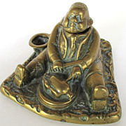 19th Century Bronze Figural Inkwell Gentleman Eating a  Fowl