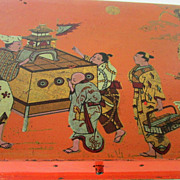 Orange-Red Japanese Lacquered Box, Chinoiserie Scene