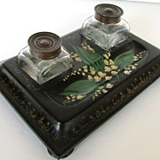 Back Lacquered Papier Mache Double Inkwell, Circa 1880