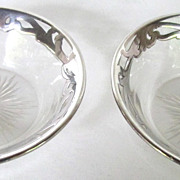 Pair Vintage  Silver Overlay Salt Cellars
