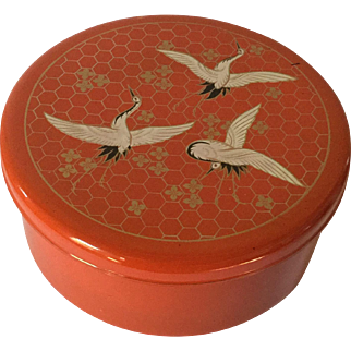 Large Japanese Lacquered Box, Cranes