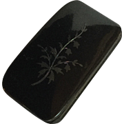 Black Laquered Papier-mâché Box With Inlaid Mother of Pearl Floral Design