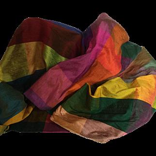 "Stunning Color Block 100% Silk Fabric, 2 Yards, 14"""