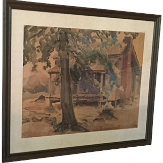 Southern Watercolor by Karl Wolfe, Signed, Dated 1940