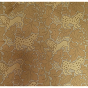 "Brunschwig & Fils  ""Parade of Big Cats"" Gold Brocatelle"