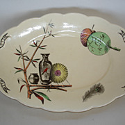 """""""Paragon"""" pattern platter: Oriental fans, vases ,bamboo, peacock feather ,red bird"""