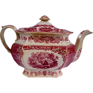 "Ridgway ""Oriental"" red transfer teapot with camel and rider"