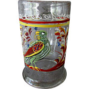 Early ANTIQUE 17th - 18th Century Hand Enameled Blown Glass Flask TANKARD with Bird