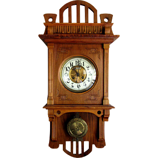 ANTIQUE Art Nouveau CLOCK German Wall Regulator PAUL de BEAUX circa 1890 - 1910