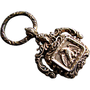 Excellent ANTIQUE Georgian Era  Hand Chased Gold Filled POCKET WATCH FOB with AMERICAN EAGLE circa 1830