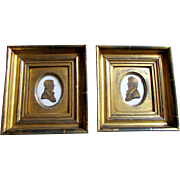 Pair Antique -  HARGRAVES - Georgian Era  - Miniature Silhouettes -  Portraits Gentlemen - Dated 1813