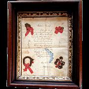 Antique POST MORTEM Calligraphy Verse QUILLED HAIR  - Anna Malinda Billiard - Northhampton, Pa. -  1851