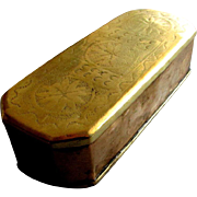 Early Antique18th Century HAND CHASED Brass & Copper TOBACCO BOX circa 1750