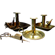 3 Antique Hand Made Brass Chambersticks PUSH-UP CANDLE HOLDERS with Candle Snuff 1830