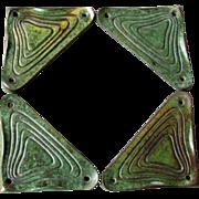4 Antique Art Nouveau Cast Iron DESK BLOTTER CORNERS w Verdigris Bronze Finish