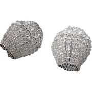Pair Antique Hand Wired Crystal Bead LIGHT BULB COVERS Shades for Newel Post Lamp 1910
