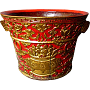 Antique 19th Century CHINESE Hand Carved Wood GILDED PLANTER Gold on Red