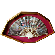 Beautiful VINTAGE Hand Painted French Style SILK HAND FAN Framed Shadowbox