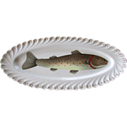 Antique Carl Knoll CARLSBAD Porcelain FISH PLATTER Hand Painted Rainbow Trout
