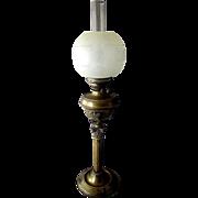 Antique 19th Century PARAFFIN OIL Brass  BANQUET LAMP with Duplex Burner 1880