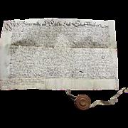 Antique 17th Century CALLIGRAPHY Vellum Indenture -  German Language Letter with Wax Seal  - BURGEMEISTER of SCHAFFHAUSEN Switzerland 1648