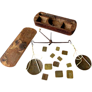 ANTIQUE 19th Century Gold Miners POCKET SCALE with Weights - Wooden Case -