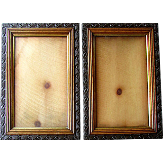 Pair ANTIQUE 19th Century AESTHETIC Picture Frames -  Golden Oak & Gesso 1880