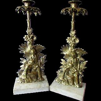 Pair Antique 19th Century GIRANDOLE CANDLESTICKS Brass Candle Holders circa 1850