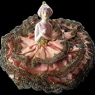 VINTAGE Hand Painted Porcelain HALF DOLL Original Dress Powder Puff & Bowl