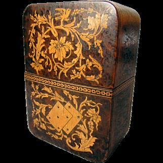ANTIQUE Italian Inlaid Wood PLAYING CARD CASE Grand Tour Souvenir Sorrento