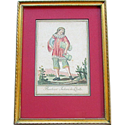 """ANTIQUE 18th Century Hand Colored FRENCH ENGRAVING  """" Barbier Indien de Quito """""""