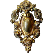 Antique 19th Century French GILT BRONZE  CARTOUCHE with Roses