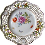 "ANTIQUE Carl Thieme DRESDEN Hand Painted Porcelain 9"" Reticulated Plate"